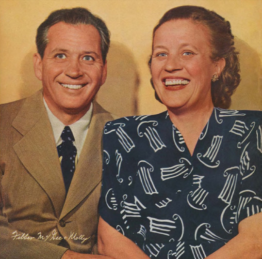 Jim and Marion Jordan - rare color photo of Fibber McGee and Molly